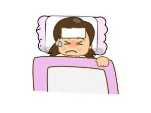 Bebé niña con fiebre
